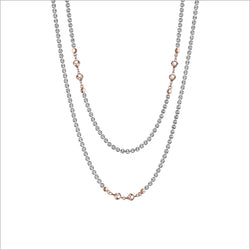 "Diamanté Sterling Silver & 18k Rose Gold Plated 42"" Necklace"