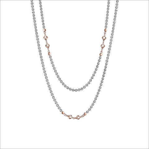 "Diamante Sterling Silver & 18k Rose Gold Plated 42"" Necklace"