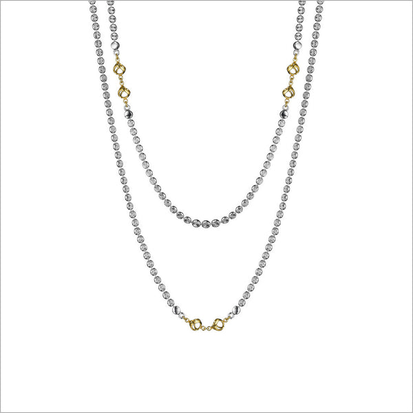 "Diamanté 18K Yellow Gold Plated & Sterling Silver 42"" Necklace"