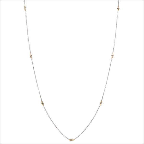 "Diamanté 18K Gold & Silver 42"" Necklace"