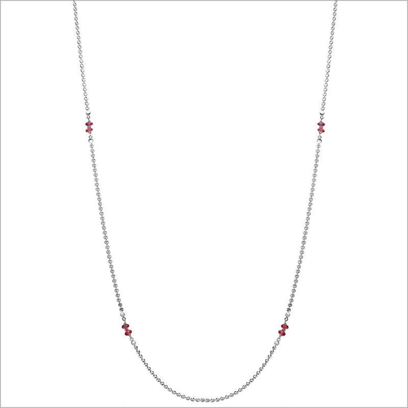 "Diamanté Garnet 42"" Necklace in Sterling Silver"