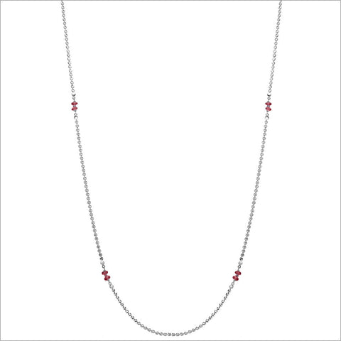 "Diamante Silver & Garnet 42"" Necklace"