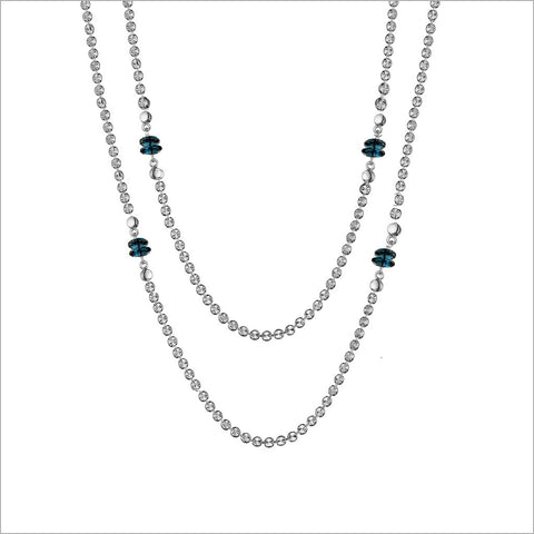 "Diamante London Blue Topaz 42"" Necklace in Sterling Silver"
