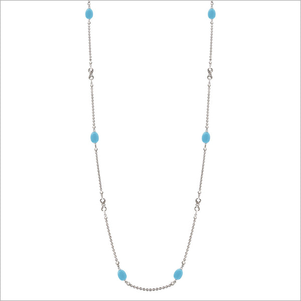 "Diamanté Turquoise 42"" Necklace in Sterling Silver"