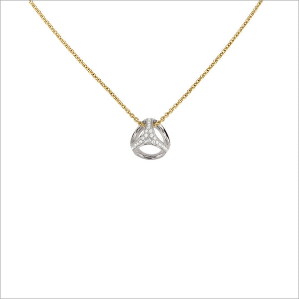 Icona 18K Yellow and White Gold Diamond Small Cage Necklace