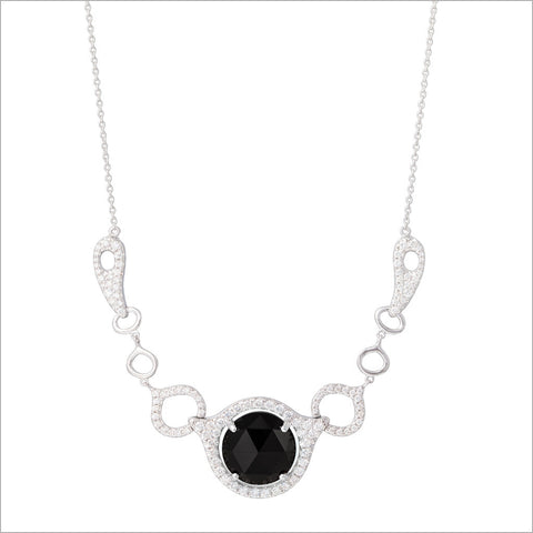 Giulietta 18K White Gold & Black Onyx Necklace with Diamonds