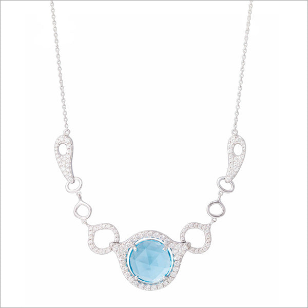 Giulietta 18K White Gold & Swiss Blue Topaz Necklace with Diamonds