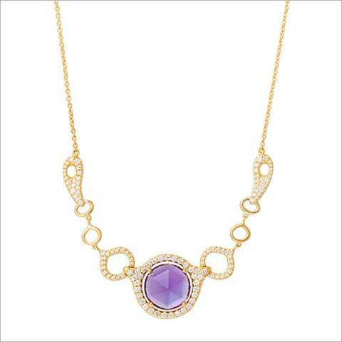 Giulietta 18K Gold & Amethyst Necklace with Diamonds