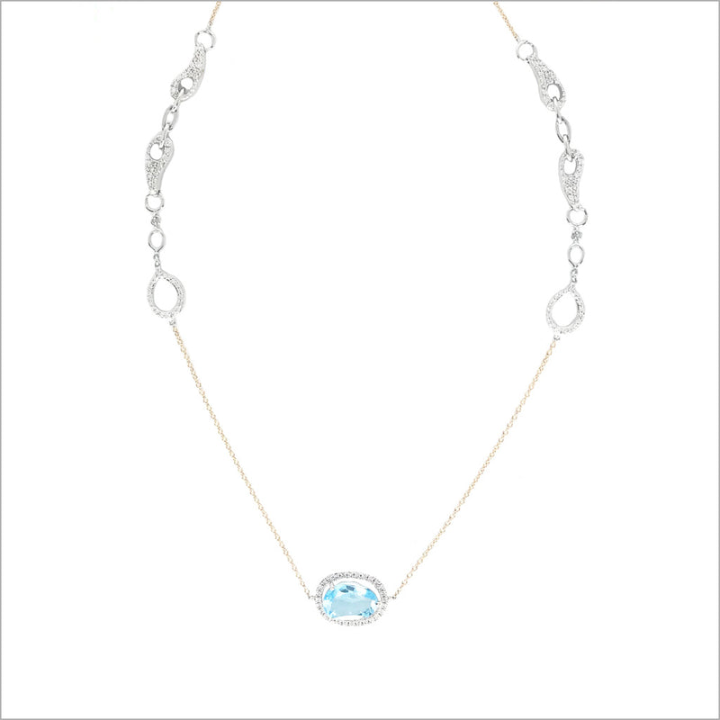 Giulietta 18K Gold & Swiss Blue Topaz Necklace with Diamonds
