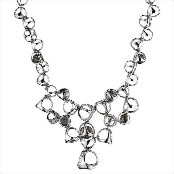 Triadra 18K White Gold & Grey Quartz Necklace with Diamonds