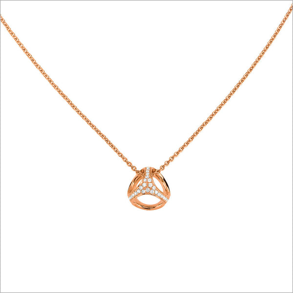 Triadra 18K Rose Gold Cage Necklace with Diamonds