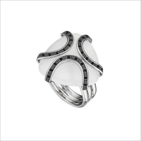 Spirit Black Rhodium & White Onyx Ring in Sterling Silver with Diamonds