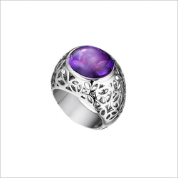 Medallion Amethyst Ring in Sterling Silver