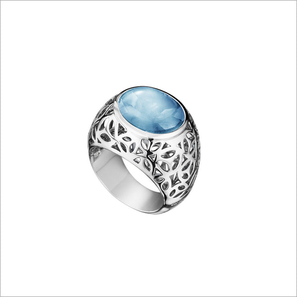 Medallion Blue Topaz Ring in Sterling Silver