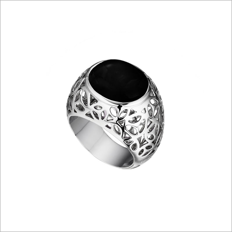 Medallion Black Onyx Ring in Sterling Silver
