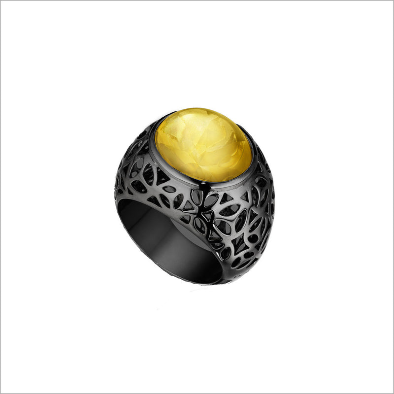 Medallion Black Rhodium & Citrine Ring in Sterling Silver