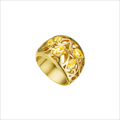 Medallion Golden Quartz Small Ring in Sterling Silver plated with 18k Yellow Gold