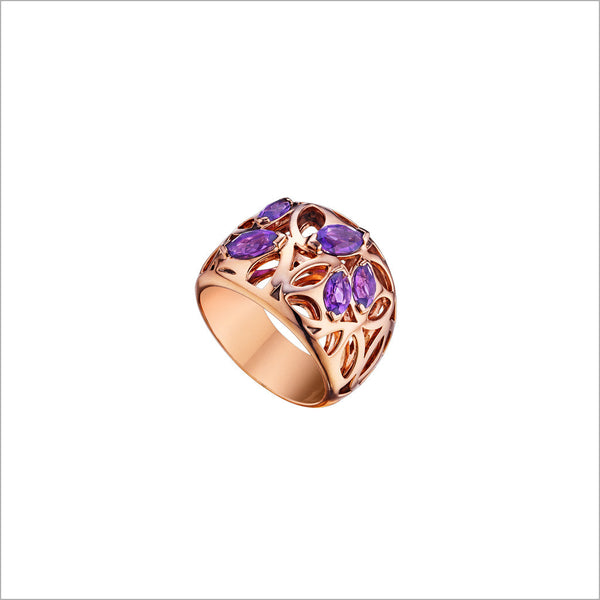 Medallion Purple Quartz Small Ring in Sterling Silver plated with 18k Rose Gold