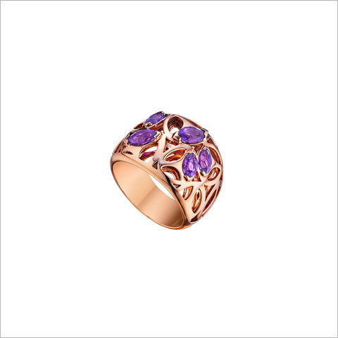Medallion Rose & Purple Quartz Small Ring in Sterling Silver