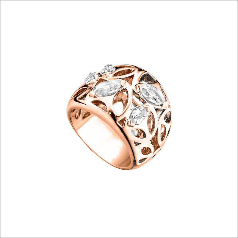Medallion Rock Crystal Quartz Small Ring in Sterling Silver plated with 18k Rose Gold