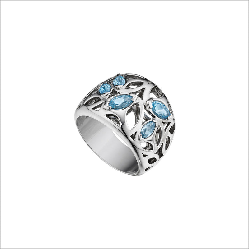 Medallion Blue Quartz Small Ring in Sterling Silver