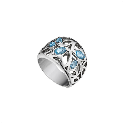 Medallion Silver & Blue Topaz Ring