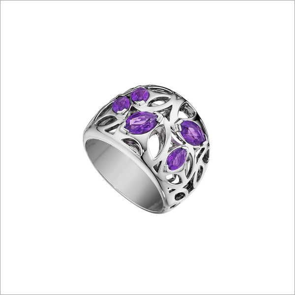 Medallion Purple Quartz Small Ring in Sterling Silver