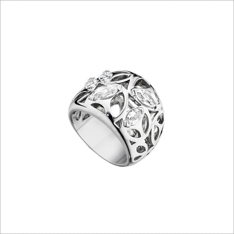 Medallion Silver & Rock Crystal Small Ring