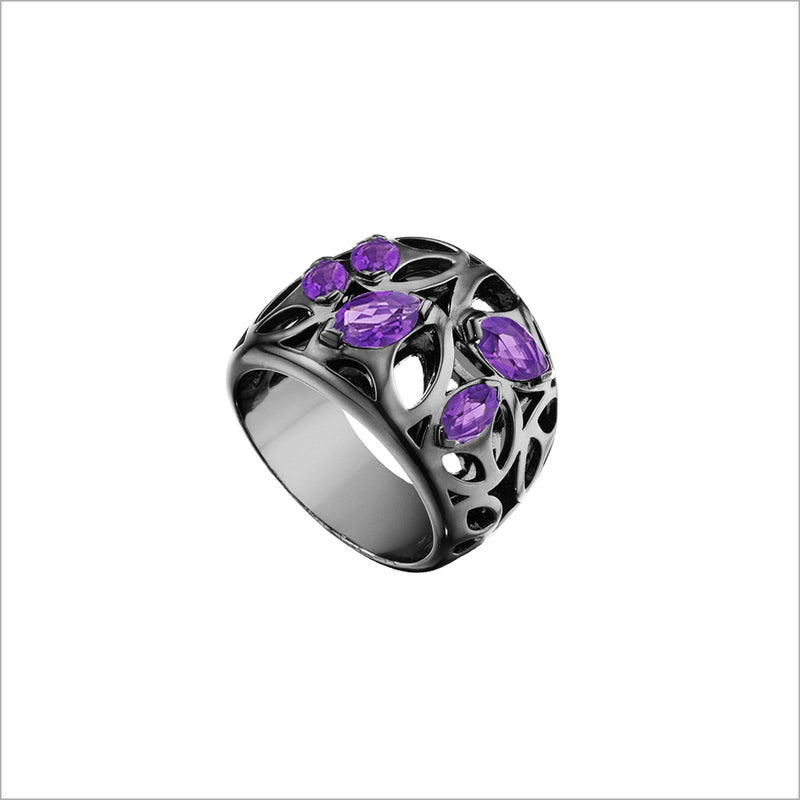 Medallion Purple Quartz Small Ring in Sterling Silver plated with Black Rhodium