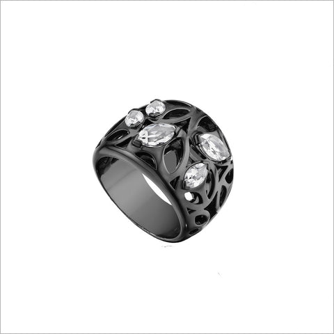 Medallion Black Rhodium & Rock Crystal Quartz Small Ring in Sterling Silver