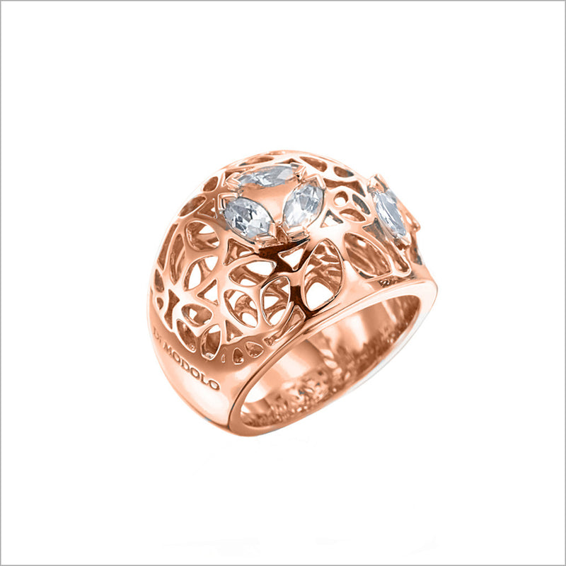 Medallion Rock Crystal Quartz Large Ring in Sterling Silver plated with 18k Rose Gold