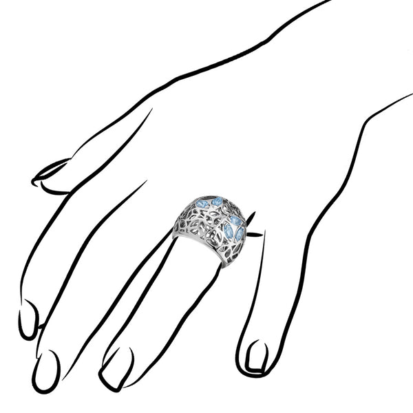 Medallion Blue Topaz Large Ring in Sterling Silver