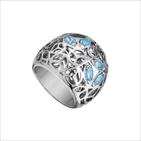 Medallion Silver & Blue Topaz Large Ring