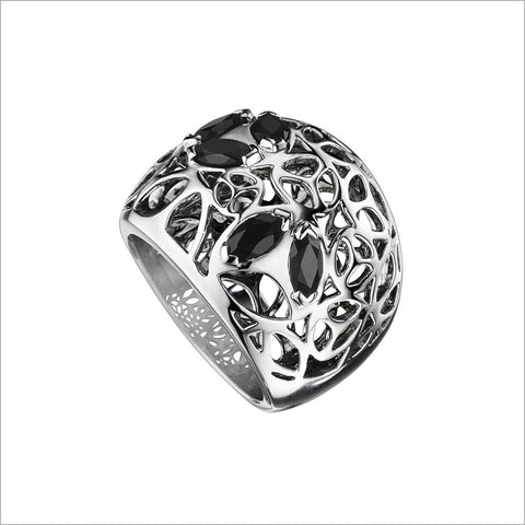 Medallion Silver & Black Onyx Large Ring