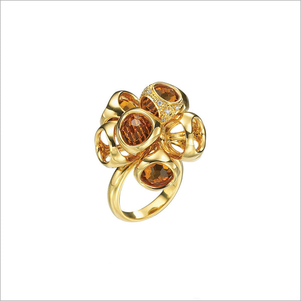 Icona Citrine Cluster Ring in sterling silver plated with 18k yellow gold with diamonds