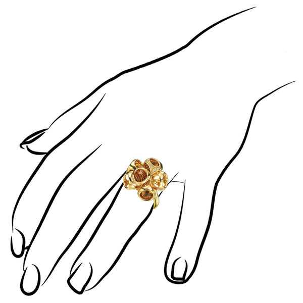 Icona Gold Plated Cluster Ring with Citrine and Diamonds in Sterling Silver