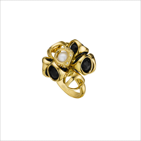 Icona Black Onyx, Pearl & Diamond Cluster Ring in Sterling Silver plated with Yellow Gold
