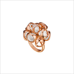 Icona Rock Crystal & Diamond Cluster Ring in Sterling Silver Plated with Rose Gold