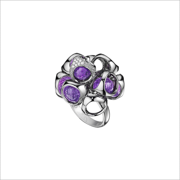 Icona Sterling Silver & Amethyst Cluster Ring with Diamonds