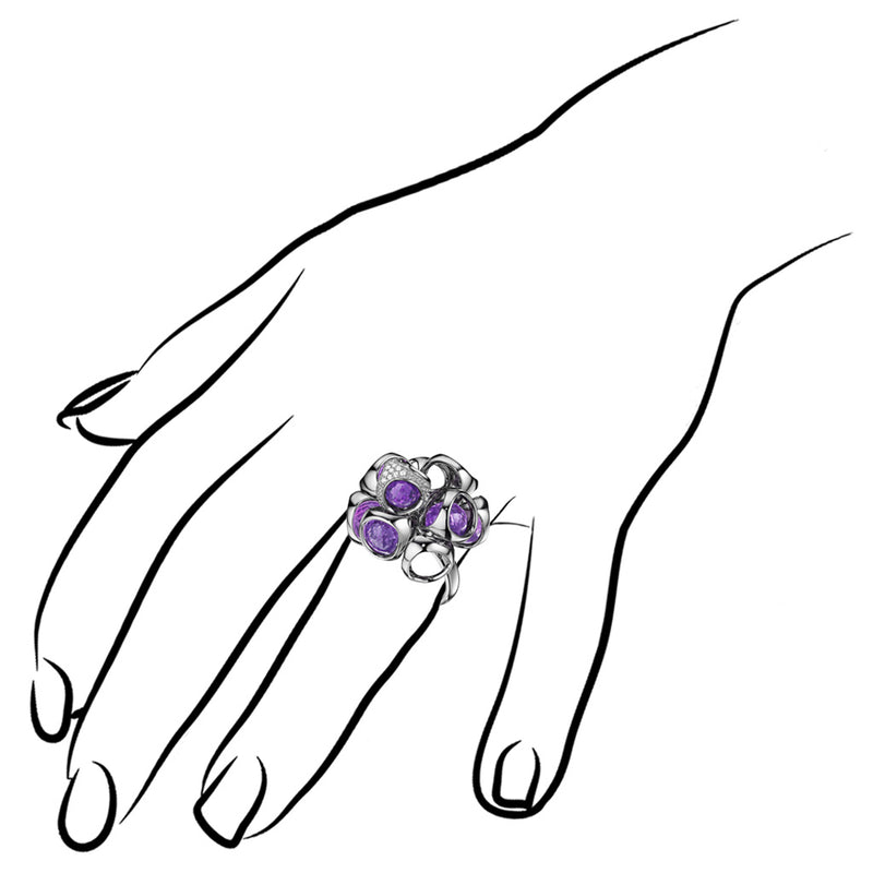 Icona Amethyst & Diamond Cluster Ring in Sterling Silver