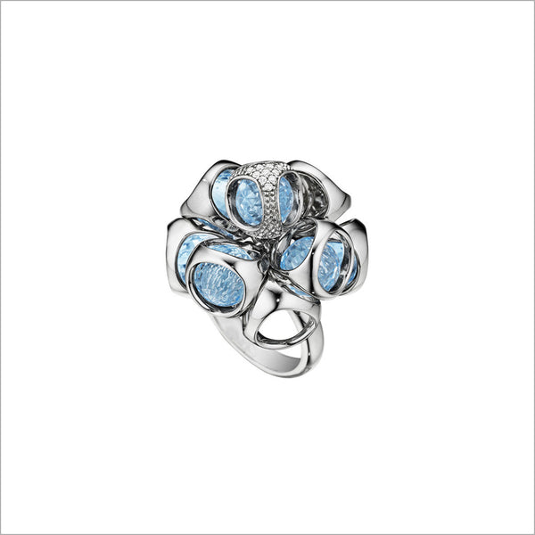 Icona Blue Topaz & Diamond Cluster Ring in sterling silver plated with rhodium