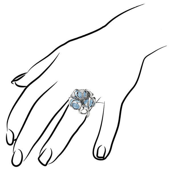 Icona Blue Topaz & Diamond Cluster Ring in Sterling Silver