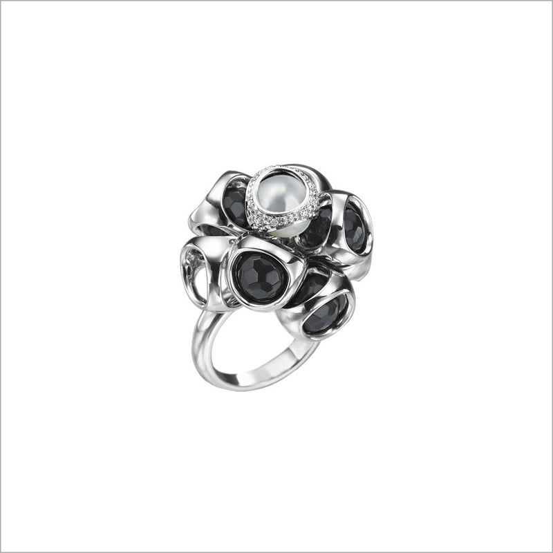 Icona Sterling Silver, Black Onyx & Pearl Cluster Ring with Diamonds