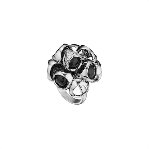 Icona Black Onyx Cluster Ring with Diamonds in Sterling silver plated with Rhodium