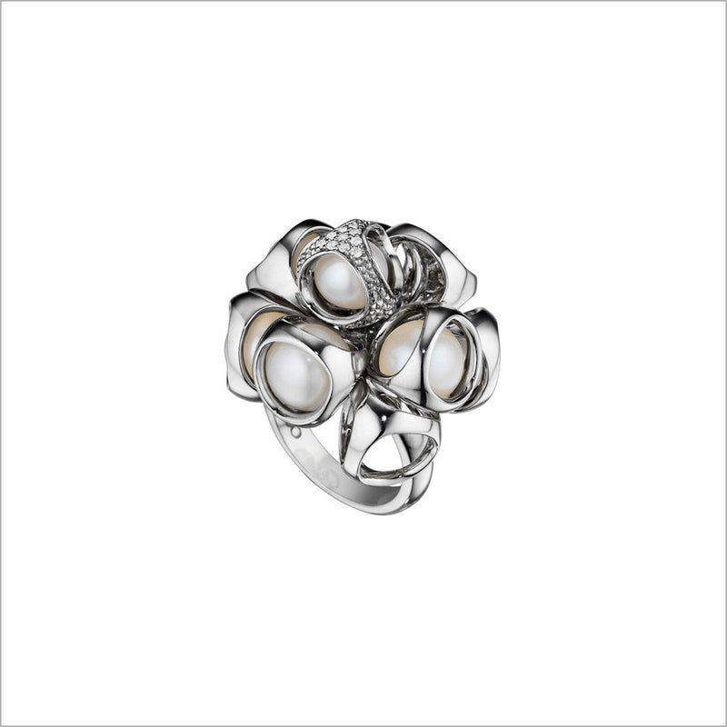 Icona Pearl & Diamond Cluster Ring in Sterling Silver