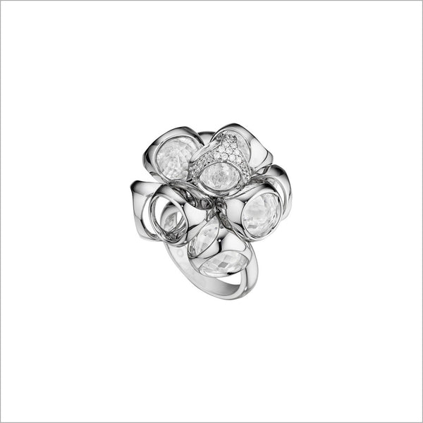 Icona Rock Crystal & Diamond Cluster Ring in sterling silver plated with rhodium