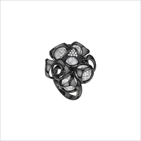 Icona Ring in sterling silver plated with black rhodium with rock crystal quartz and diamonds