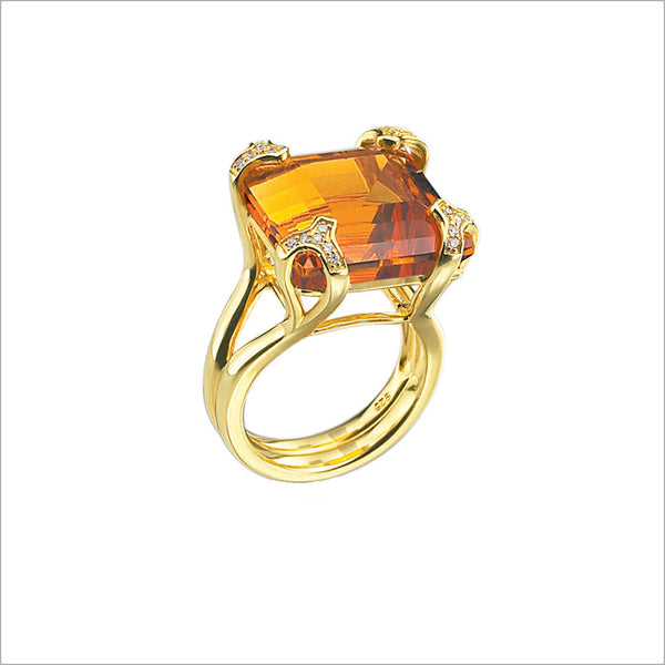 Soirée Golden Quartz & Diamond Ring in Sterling Silver plated with 18k Yellow Gold
