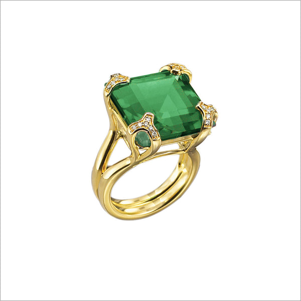 Soirée Green Quartz & Diamond Ring in Sterling Silver plated with 18k Yellow Gold