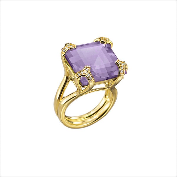 Soirée Purple Quartz & Diamond Ring in Sterling Silver plated with 18k Yellow Gold